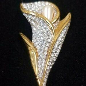 Swarovski Pave Set Crystal Calla Lily Pin Brooch